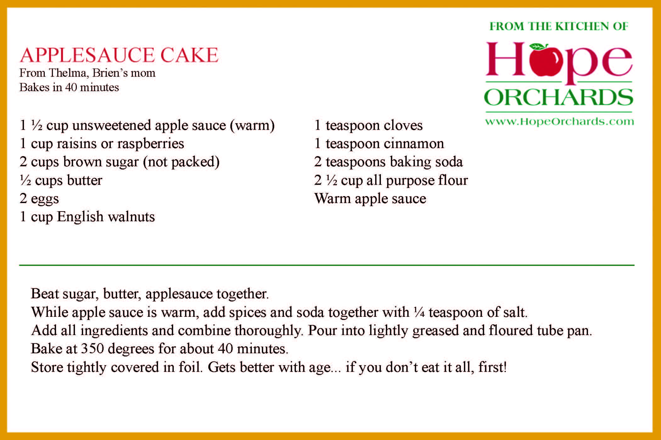 Applesauce Cake   Hope Orchards